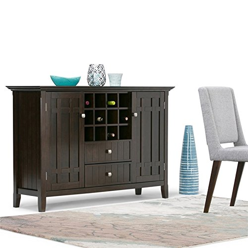 Simpli Home Bedford Solid Wood Sideboard Buffet & Winerack, Tobacco Brown, Standard