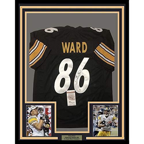 Framed Autographed/Signed Hines Ward 33x42 Pittsburgh Black Football Jersey JSA COA