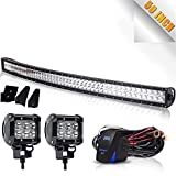 TURBOSII 50' Curved LED Light Bar Spot Flood Offroad w/ 4' Pods Cube Auxiliary Driving Fog light Lamp On Grill Windshield Roof For Truck Jeep Wrangler Chevy Silverado Tahoe GMC Dodge Ram ATV 12V-24V