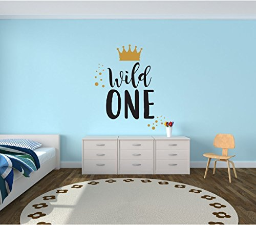Wall Decal for Kids - Wild One - Where The Wild Things Are Theme Room - Crown Design - Vinyl Wall Art and Decor for Children's Bedroom, Baby Nursery or Playroom