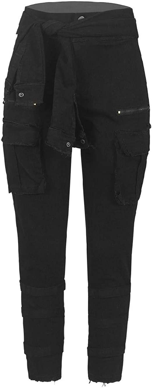 Romancly Womens Belted Skinny Washed Faded Mid Rise Tapered Jean