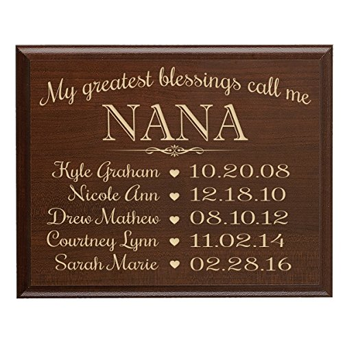 - LifeSong Milestones Personalized Gifts for Nana with Family Established Year Wall Plaque with Children's Names and Birth Dates to Remember My Greatest Blessings Call me Nana (9x12, Cherry)
