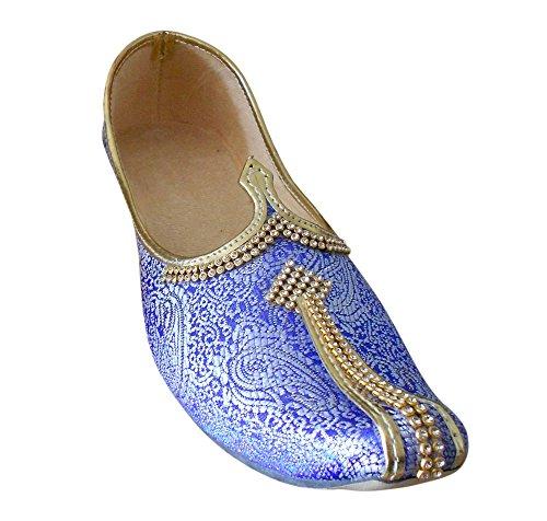 Kalra Creations - Zapatillas de estar por casa de Seda para hombre azul cielo