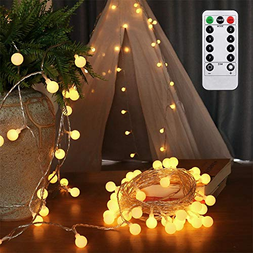 AMARS 33FT Battery Operated Globe String Lights, Christmas LED Fairy Light with Remote Timer for Bedroom, Party, Indoor, Outdoor, Garden, Tapestry, Warm White (8 Modes, Dimmable, Waterproof) (Lights Snow Tumblr Christmas)