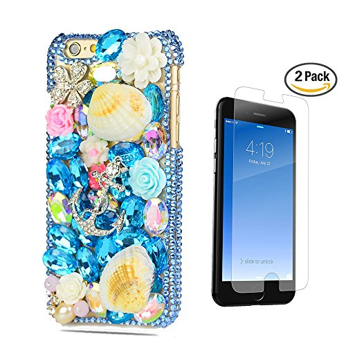 (STENES iPhone 7 Plus Case - [Luxurious Series] 3D Handmade Crystal Sparkle Bling Case with Screen Protector & Retro Bowknot Anti Dust Plug - Crystal Anchor Pretty Shell Flowers/Navy Blue)