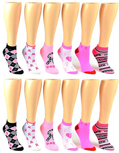 Women's Breast Cancer Awareness Print - 12 Pair Pack - Low Cut Style -