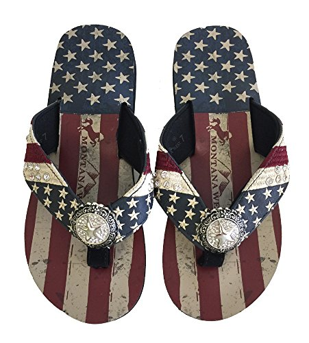 (Montana West Women Flip Flops American Flag Pride Star Concho Flat Sandals Navy)