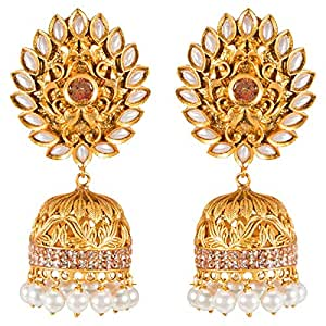 Zevar Alloy Antique Golden Jhumka Earrings with Pearl Drops