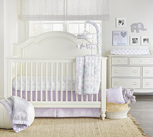 Crib Bed Outlet Baby Accessories - Wendy Bellissimo 4 pc Set Nursery Bedding + Baby Crib Bedding Set for Elephant Nursery from The Anya Collection in Lavender and Grey