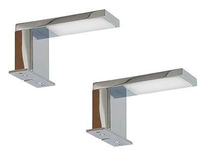 Er Set Moderne Chromglänzende LED Spiegelleuchten JESOLO Fürs - Spiegelleuchten badezimmer
