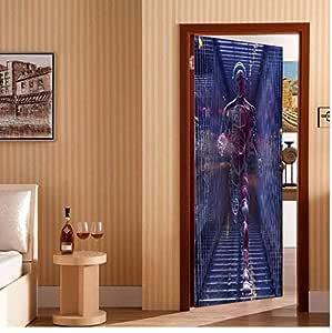 Nuevo Creativo 3D Etiqueta De La Puerta Arte Mágico Supermen Impermeable Autoadhesivo Mural Wallpaper Poster Diy Puerta Decoración Del Hogar Tatuajes De Pasta: Amazon.es: Bricolaje y herramientas