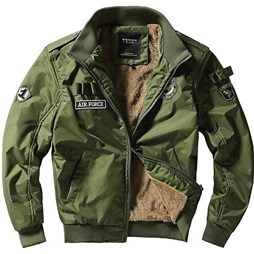Uk2113h Men's Autumn Plus New Winter Flight MA1 Coat Police Thick Velvet Green Style JIINN Jacket Bomber 6EdxqHa6w