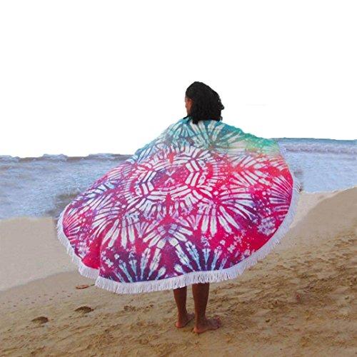 Usstore 1PC Bohemian Round Printed Tassel Printed Tapestry Bikini Cover Up Shower Beach Towel Swimwear Bathing Suit Kimono Tunic Yoga Mat Fringing (C)
