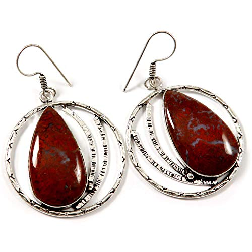 Goyal Crafts Red Moss Agate Dangle Earring Natural Gemstone Silver Plated Jewelry GEH42