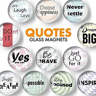 Glass Inspirational Magnets for Fridge - Funny Refrigerator Magnets - Decorative Magnets for Whiteboard - Locker Magnets for Boys and Girls - Cute Fridge Magnets for Classroom and Office