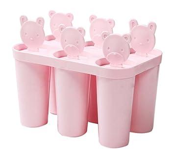 Compra Koala Superstore Moldes para Hacer Helados artesanales en casa Moldes para Helados en paletas congelados 6 Rejas Redondo, Rosado en Amazon.es