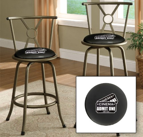 New Bronze Finish 24'' or 29'' Seat Height Bar Stool featuring Admit One Movie Tickets Themed Logo and your choice of seat cushion viny color! by The Furniture Cove
