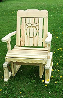 Pressure Treated Pine Designs Unfinished Outdoor Apple Cutout Glider Chair