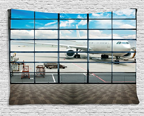 "Ambesonne Modern Tapestry, China Shangai Airport with Big Jet Plane Wanderlust Traveller Photograph, Wide Wall Hanging for Bedroom Living Room Dorm, 80"" X 60"", Sky Blue"