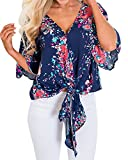 BBYES Womens Short Sleeve V Neck Floral Tie Front Flare Tops Chiffon Blouses Dark Blue S