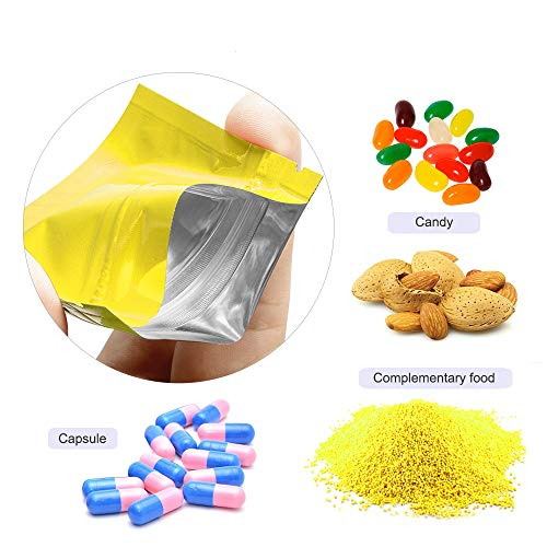 200 Pcs Self Sealing Ziplock Bags Aluminum Mylar Foil Zip Lock Pouch Smell Proof Sample Packing Coffee Long Term Storage Bags Heat Sealable Party Bags For Mom (Double Gold, (7x10.6 inch) 18x26cm) ()