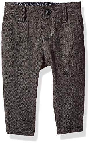 Gymboree Baby Boys Flat Front Trouser Pant, Grey Herringbone, 3-6 Mo