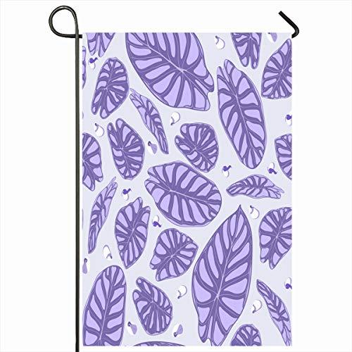 (Ahawoso Outdoor Garden Flag 12x18 Inches Color Watercolor Botanical Jungle Pattern Purple Nature Vintage Araceae Botany Exotic Flora Florist Foliage Design Seasonal Double Sides House Yard Sign)