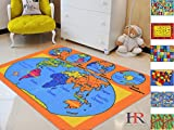 world carpet - Handcraft Rugs-Kids Educational/Playtime/ Non-Slip Rugs World Map Puzzle Orange and Multi Color 8 ft. by 10 ft.(WORLD MAP)