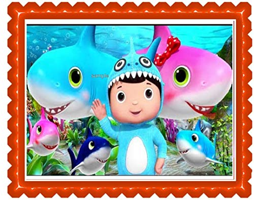 Baby TV ABC's Baby Shark Boy Edible Cake Topper Party Edible Cake Image Decoration Sugar -
