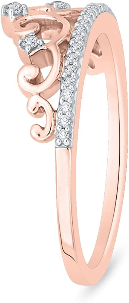 1//10 cttw, Size-5.5 G-H,I2-I3 Diamond Wedding Band in 10K Pink Gold