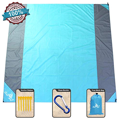 NS SeaPro Sandfree Beach Blanket 82X79In Extra Large,Pocket Zipper Portable Waterproof and Quick Dry Outdoor Family Mat for Beach,Soft Compact Beach Mat Picnic Blanket,Camping,Hiking,Music Festival