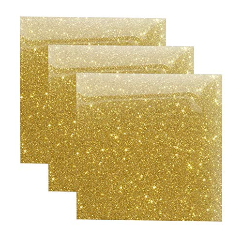 Glitter Heat Transfer Vinyl Gold Sheets, HTV Vinyl Bundle Iron on for T Shirts, Fabric, Clothing - 10 x 10 - 3 Pcs for Cricut, Silhouette Cameo and Other Cutter Machines