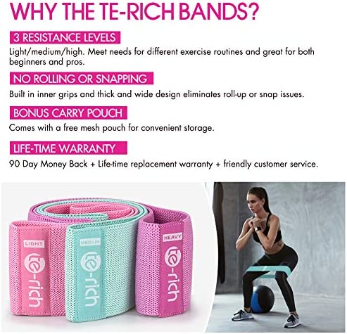 Te-Rich Resistance Bands for Legs and Butt, Fabric Workout Bands, Women/Men Stretch Exercise Loops, Thick Wide Non-Slip Gym Bootie Band 3 Set for Squat Glute Hip Training 4