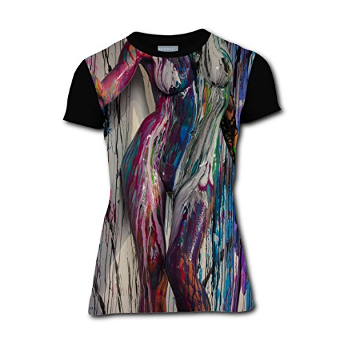 MOSDELU Women T-shirts Body Painting 3D Printed Short Sleeve Funny Tee (Simple Ideas For Halloween Face Painting)