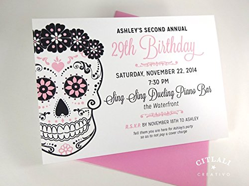 Birthday Floral Sugar Skull Invitations, Set of 10 Mexican Day of the Dead Theme