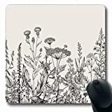 Ahawoso Mousepads Boho White Floral Border Herbs Wild Flower Blossom Vintage Meadow Victorian Vegetation Summer Oblong Shape 7.9 x 9.5 Inches Non-Slip Gaming Mouse Pad Rubber Oblong Mat