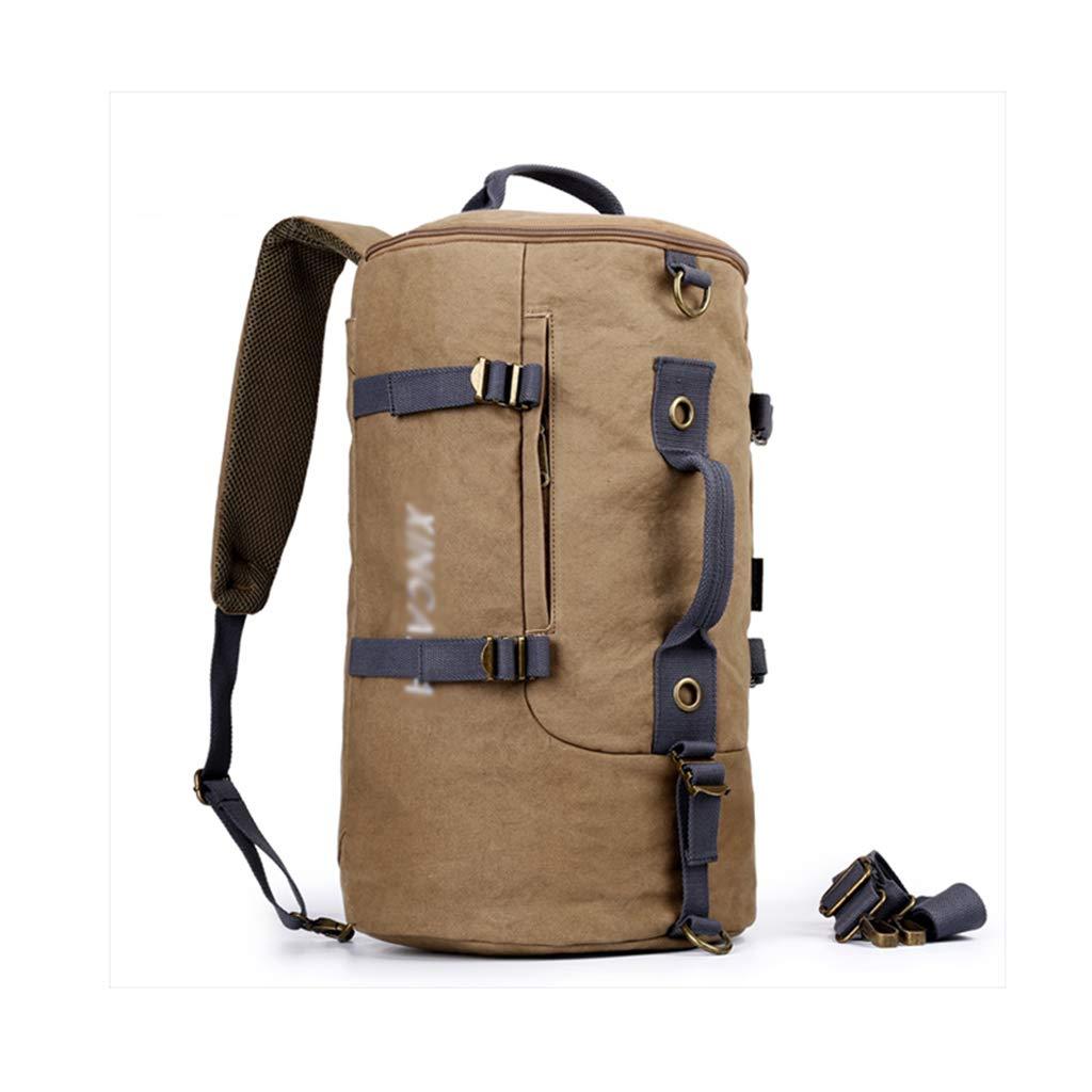 2715.547CM KIMSAI Canvas backpack Multifunctional men's travel bag Sports student backpack Cylinder package Outdoor leisure large capacity backpack Shoulder shoulders,27  15.5  47CM