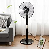 COSTWAY Height Adjustable 16'' Oscillating Pedestal Fan 3 Wind Speed, Double Blades (Black)