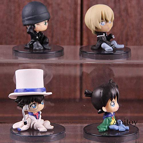 Detective Conan Figure Kid Jimmy Kudo Kaitou Kiddo Akai Shuuichi Bourbon Q Version PVC Anime Action Figures Toys 4pcs/Set