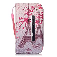 iPhone 4S Case,iPhone 4 Case,Yourfairy [Kickstand Feature] Built-in Credit Card Luxury Wallet PU Leather Folio Wallet Flip Cover Case for Apple iPhone 4/4S Case,Paris Plum flower