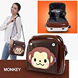 GrowRight Portable Multifunctional Baby Infant Travel Booster Seat & Diaper Bag with Plastic Storage Case - (Brown Monkey, up to 44 Pounds)