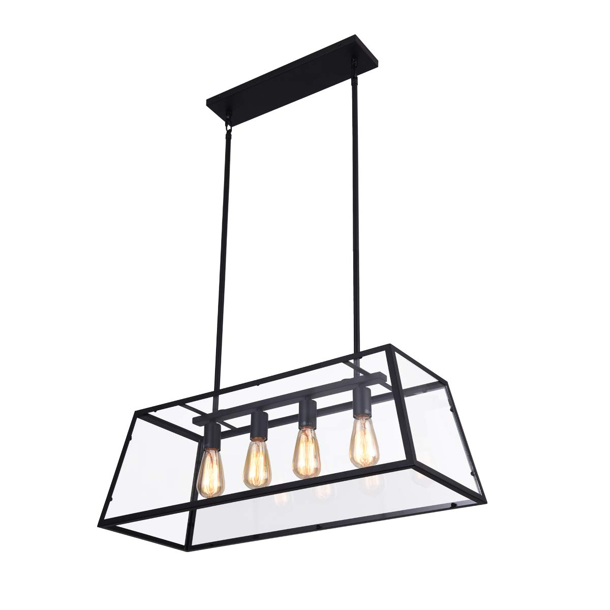 mirrea 4-Light Kitchen Island Pendant Matte Black Shade with Clear Glass Panels Modern Industrial Chandelier for Dinning Room by mirrea (Image #1)