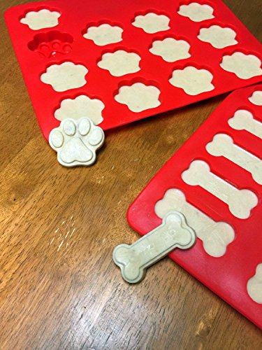 Dog Paws & Bones Fish Cake Pan, Large Silicone Dog Treats Baking Molds for Kids, Pets, Dog-lovers Cookie Cutter (Fish Paws Bones) by Ouwoow (Image #2)