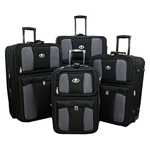 TRANSWORLD 4-Piece Expandable Wheeled Upright Luggage Set, Black ()