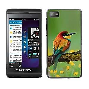 Caucho caso de Shell duro de la cubierta de accesorios de protección BY RAYDREAMMM - Blackberry Z10 - Nature Floral Songbird Yellow
