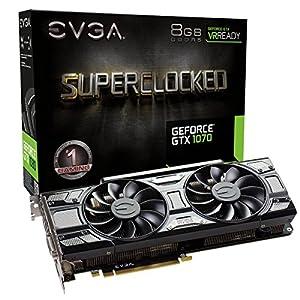EVGA GeForce 08G-P4-5173-KR, GTX 1070 SC GAMING ACX 3.0 Black Edition, 8GB GDDR5, LED, DX12 OSD Support (PXOC) 5106W58qESL. SS300