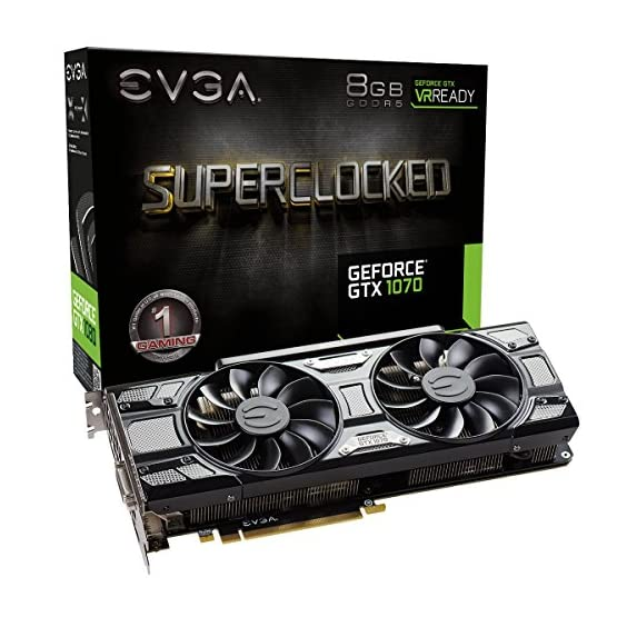 EVGA GeForce 08G-P4-5173-KR, GTX 1070 SC GAMING ACX 3.0 Black Edition, 8GB GDDR5, LED, DX12 OSD Support (PXOC) 5106W58qESL. SS555