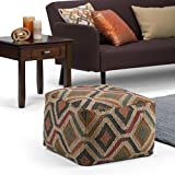 Simpli Home Johanna Transitional Square Pouf in
