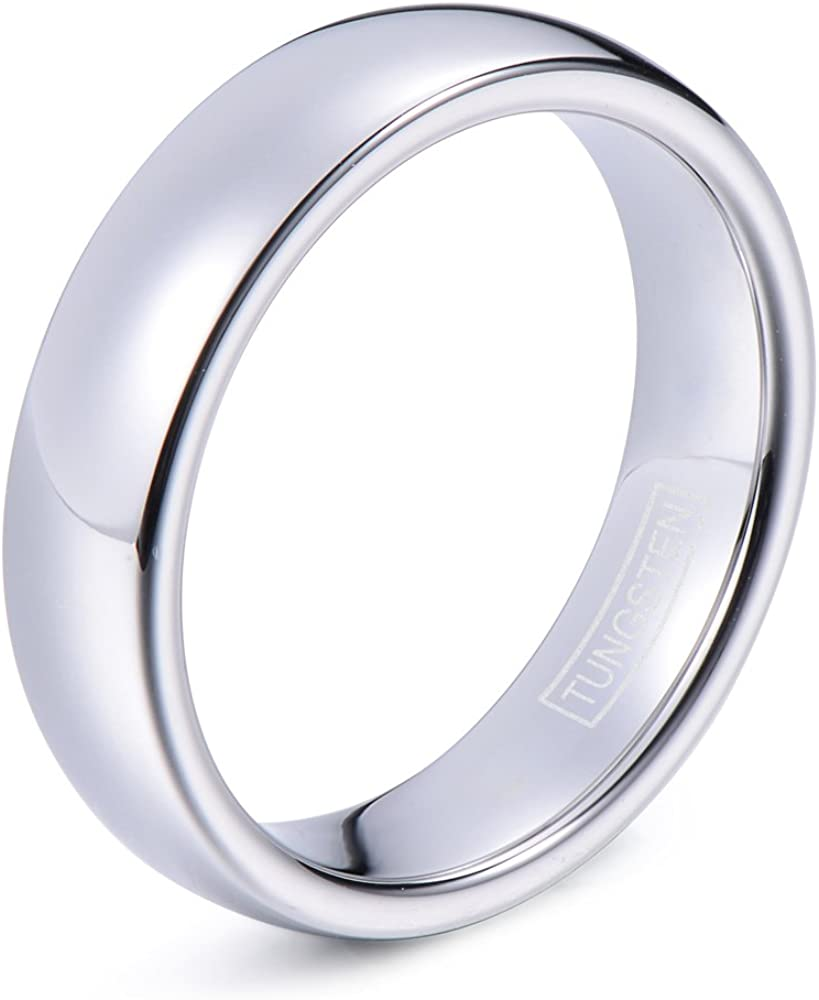 Custom Engraved Inside 8MM Tungsten Carbide Wedding Band Brushed Dome With Polished Edges Comfort Fit