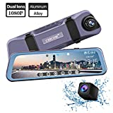 Mirror Dash Camera 9.66' Full Touch Screen Streaming Media Backup Camera Made of Aluminum Alloy, 1080P 170°Full HD Front 1080P 140°Wide Angle Full HD Rear View Camera with Parking Monitor and G-Sensor